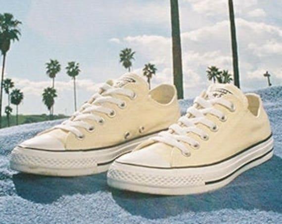Ivory Vanilla Cream Converse Low Canvas Off White Custom Bridal w/ Swarovski Crystal Rhinestone Chuck Taylor All Star Wedding Sneaker Shoe