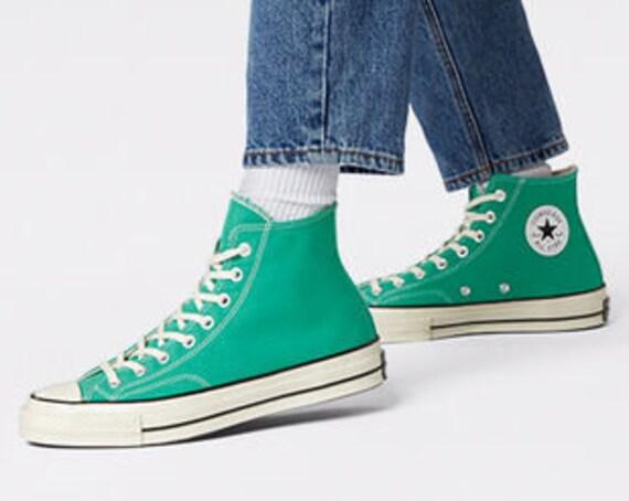 Court Green Converse High 70s Mens Basketball Custom w/ Swarovski Crystal Rhinestone Irish Groom Chucks Mens Bride Wedding Sneakers Shoes
