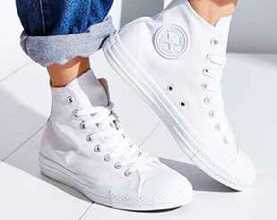 White Converse Leather High Top Trainer Mono Custom Kicks w/ Swarovski Crystal Rhinestone Jewels Chuck Taylor All Star Wedding Sneakers Shoe