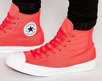 d53b1a8fec28 Red Converse High Top Chuck Taylor II Mono Fire Engine Red Coral Canvas  Custom Crystal Bling w  Swarovski Rhinestone All Star Sneakers Shoes