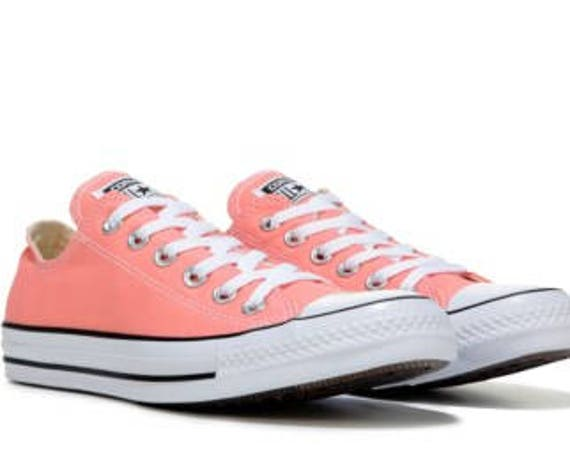 Coral Pink Converse Low Top Peach Sun Blush Apricot Melon Custom w/ Swarovski Crystal Chuck Taylor All Star Bridal Wedding Sneakers Shoes