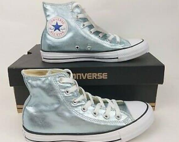 Mint Green Blue Ice Converse High Top Metallic Canvas w/ Swarovski Crystal Custom Rhinestone Chuck Taylor All Star Wedding Sneaker Shoes