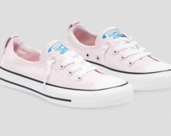 Baby Pink Converse Shoreline Slip on Foam Rose Petal Wedding w/ Swarovski Crystal Rhinestone Bling Chuck Taylor All Star Bride Sneaker Shoe
