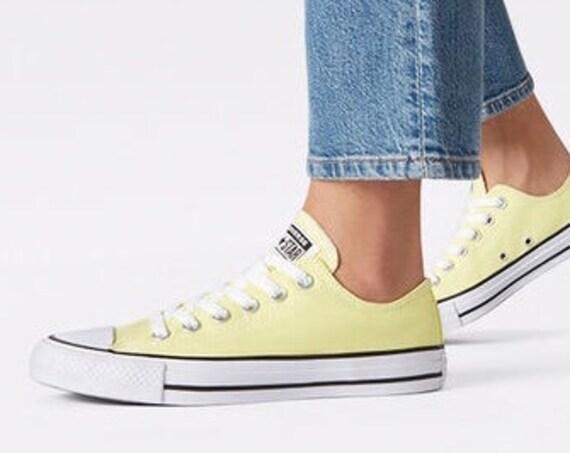 Pale Yellow Converse Low Light Zitron chartreuse Custom w/ Swarovski Crystal Jewel Bride Chucks Taylor All Star Kicks Wedding Sneakers Shoes