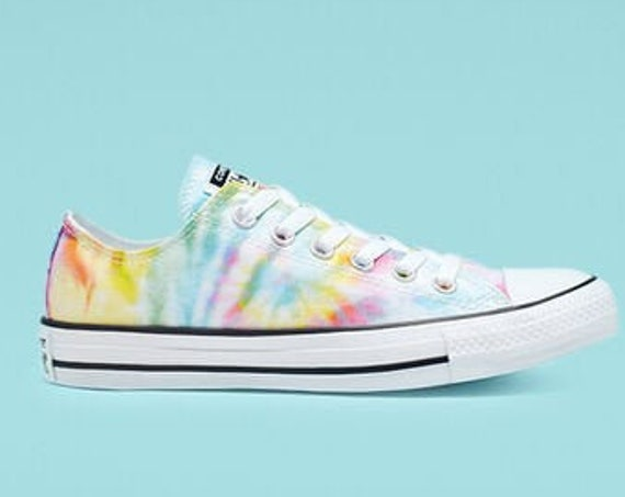 Tie Dye Converse Low Top Pastel Canvas Rainbow Custom Kicks w/ Swarovski Crystal Rhinestone Chuck Taylor All Star Ladies Kids Sneakers Shoes