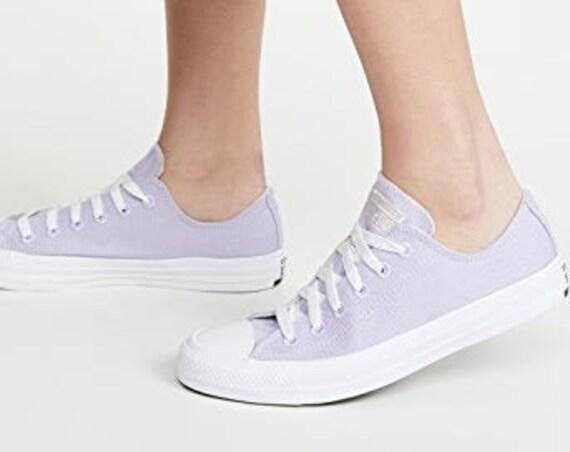 Violet Purple Converse Cotton Moonstone Low ECO Lavender Lilac Bridal w/ Swarovski Crystal Rhinestone Bling Bride Chuck Wedding Sneaker Shoe
