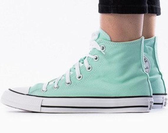 Ocean Mint Converse High Top Sea foam Peppermint Pistachio Beach Glass Mens w/ Swarovski Crystal Chuck Taylor All Star Wedding Sneakers Shoe