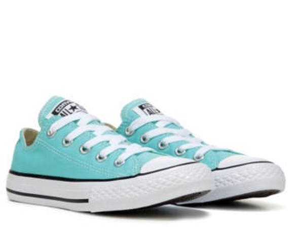 Aqua Blue Converse Low Top Turquoise Bling Custom w/ Swarovski Crystal Rhinestone Chuck Taylor All Star Beach Bride Wedding Sneakers Shoes