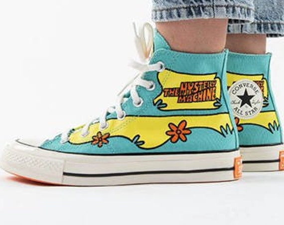 Scooby Doo Converse High Top 70s Mystery Machine Cartoon Blue Green Custom Bling w/ Swarovski Crystal Chuck Taylor All Star Sneakers Shoes