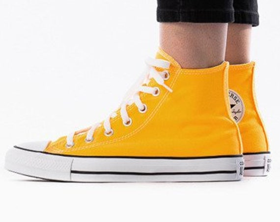 Yellow Orange Converse High Top Men Sunflower w/ Swarovski Crystal Rhinestone Bling Wedding Kicks Chuck Taylor All Star Bridal Sneakers Shoe