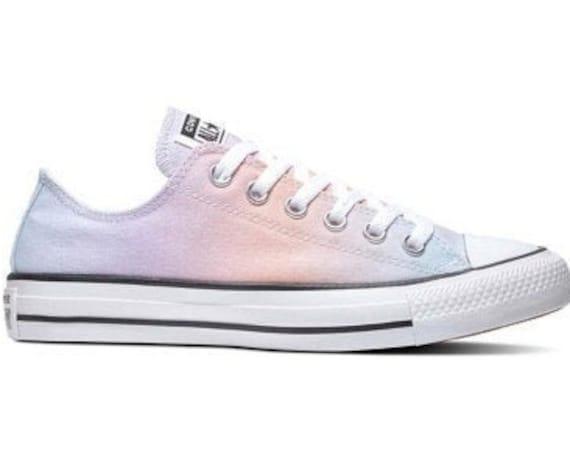Tie Dye Converse Low Top Pastel Rainbow Sunset Custom Kicks w/  Swarovski Crystal Rhinestone Chuck Taylor All Star Wedding Sneakers Shoes