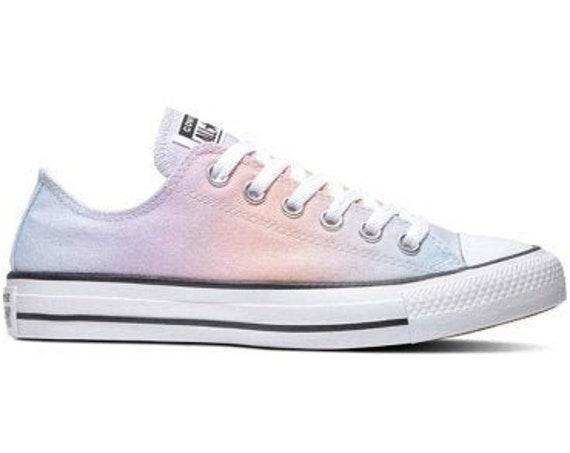 Tie Dye Converse Low Top Pastel Rainbow Fade Custom Kicks w/ Swarovski Crystal Rhinestone Chuck Taylor All Star Easter Wedding Sneaker Shoes