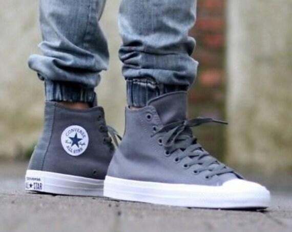 Dark Gray Converse High Wedding Chuck Taylor II Mono Grey Thunder Silver Mens Canvas w/ Swarovski Crystal Rhinestone All Star Sneakers Shoes