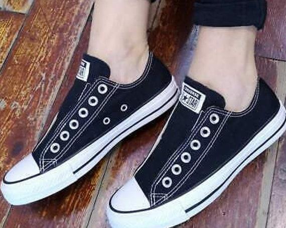 Black Converse Slip on Ladies Mens Laceless Kick w/ Swarovski Crystal Rhinestone Reception Bride Chuck Taylor All Star Wedding Sneakers Shoe