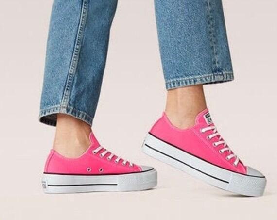 "Hyper Pink Converse 1.5"" Platform lift heel wedge Light Rose Low Kicks w/ Swarovski Crystal Rhinestone Chucks All Star Wedding Sneaker Shoes"