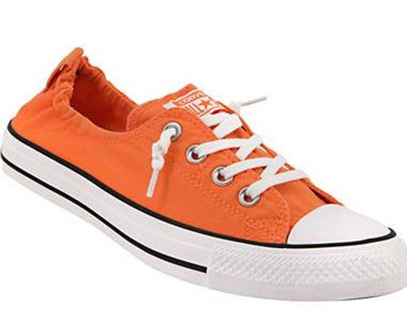 Orange Converse Red Mango Coral Shoreline Slip on w/ Swarovski Crystal Rhinestone Jewels Bling Chuck Taylor All Star Wedding Sneakers Shoes