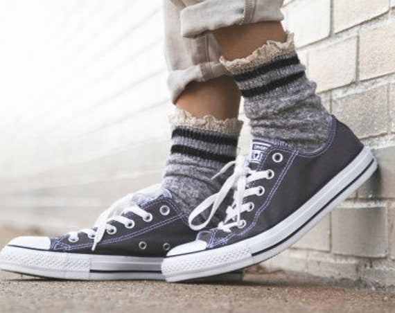 8c884e45205a ... Dark Gray Converse Low Top Wedding Canvas Charcoal Grey Chuck Taylor w  Swarovski  Crystal Bling