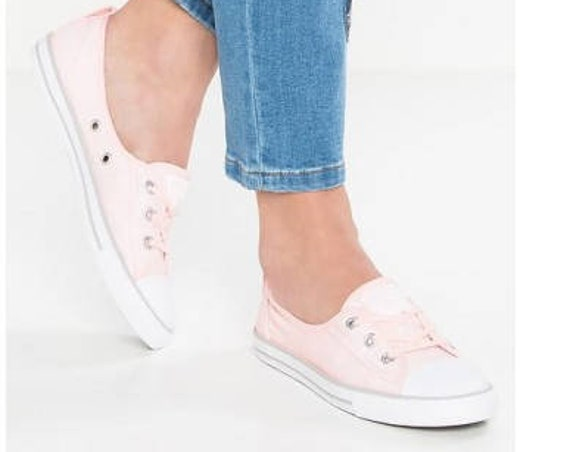 Baby Pink Converse Low Top Slip On Ballet flat Rose Wedding Lace Bridal w/ Swarovski Crystal Chuck Taylor Rhinestone All Star Sneakers Shoes