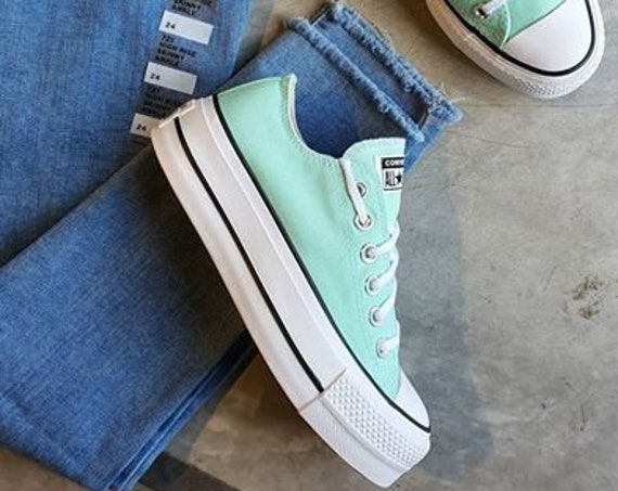 Mint Green Sea foam Blue Converse Platform lift wedge Canvas Low Club w/ Swarovski Crystal Rhinestone Chuck All Star Wedding Sneakers Shoes