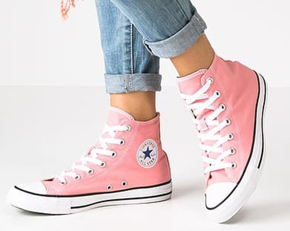 Pink Converse High Top Daybreak Blush Rose W US 8.5 Wedding Bride Custom Canvas w/ Swarovski  Crystal Chuck Taylor All Star Sneakers Shoes