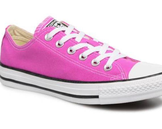 Pink Converse Magenta Low Top Bright Rose w/ Swarovski Crystal Rhinestone Jewel Bridal Wedding Chuck Taylor All Star Trainers Sneakers Shoes