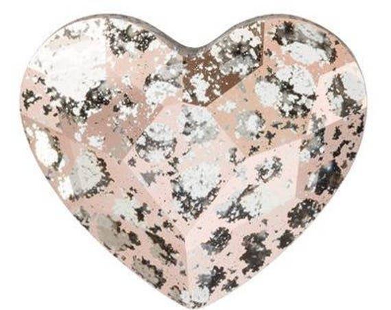 6mm Custom Swarovski Crystal Heart Earrings Wedding Rose Gold Patina Gem Rhinestone w/ Silver Titanium Post Hypoallergenic Minimalist Stud