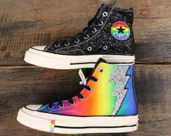 Converse Gay Pride 70 LGBTQ Black Rainbow Mens High Top Multicolor Glitter Lightning Chuck Taylor w/ Swarovski Crystal All Star Sneaker Shoe