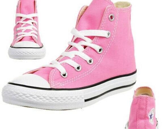 Girls Pink High Converse Back to School Kid Youth Children 10.5-3 Rose Custom w/ Swarovski Crystal Chucks Rhinestone All Star Sneakers Shoes
