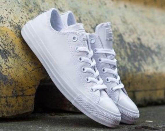 White Leather Converse Low Top Mono Bride Groom w/ Swarovski Crystal Chuck Taylor Custom Rhinestone Bling All Star Wedding Sneakers Shoes