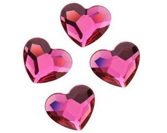Valentines Day Custom Swarovski Crystal Heart Earrings Wedding Fuchsia Pink Rhinestone w/ Titanium Post Hypoallergenic Minimalist Studs