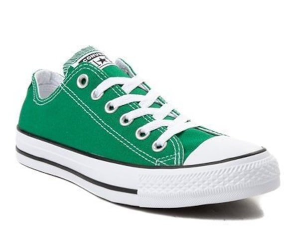 Amazon Green Converse Forest Kelly Low Top Bling Custom w/ Swarovski Crystal Rhinestones Jewels Chuck Taylor All Star Wedding Sneakers Shoes