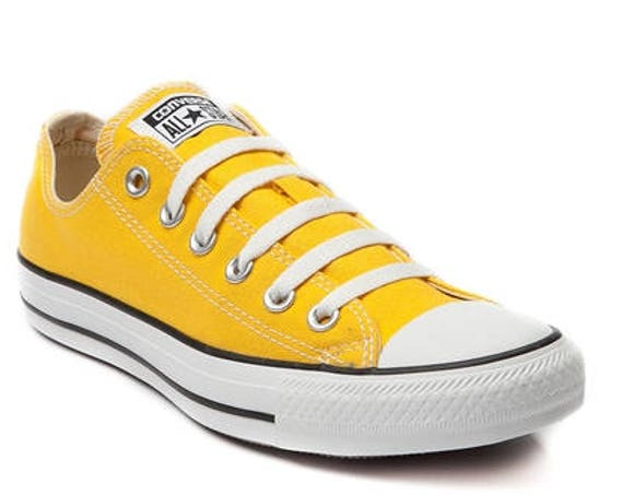 Yellow Converse Low Top Men Lady Summer Lemon w/ Swarovski Crystal Rhinestone Bling Wedding Kicks Chuck Taylor All Star Bridal Sneakers Shoe