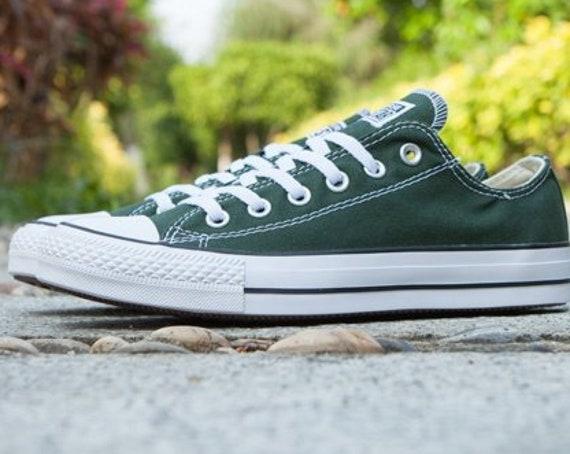 Green Converse Forest Hunter Gloom Low Top Bling Custom w/ Swarovski Crystal Rhinestones Jewels Chuck Taylor All Star Wedding Sneakers Shoes