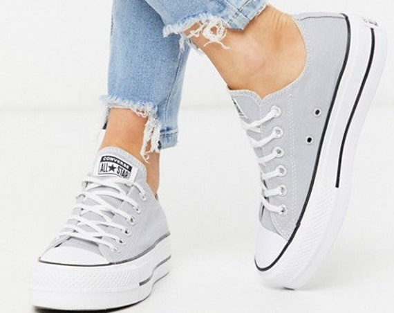 Gray Converse Platform lift heels wedge Wolf Grey Canvas Low Top Club w/ Swarovski Crystal Rhinestone Chuck Taylor All Star Sneakers Shoes