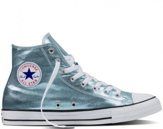 Mint Green Blue Ice Converse High Top Metallic Canvas w/ Swarovski Crystal Custom Rhinestone Chuck Taylor All Star Wedding Sneaker Shoes