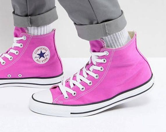Pink Converse High Tops Magenta Fuchsia Lilac Rose w/ Swarovski Crystal Rhinestone Wedding Chuck Taylor All Star Trainer Bride Sneakers Shoe