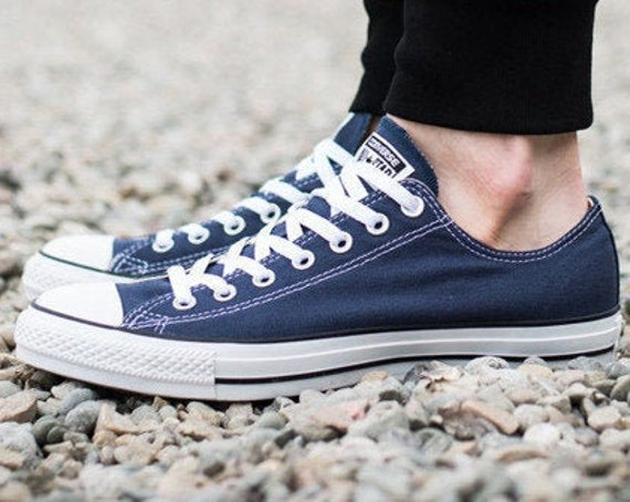 Blue Converse Navy Low Top Custom Bridal w/ Swarovski Crystal Bling Rhinestone Jewel Chuck Taylor All Star Mens Bride Wedding Sneakers Shoes
