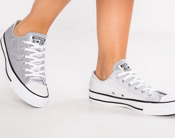 Silver Gray Velvet Converse Chuck Taylor Low Top Crystal Kicks Grey Cistom w/ Swarovski Rhinestone Bling All Star Bride Wedding Sneaker Shoe