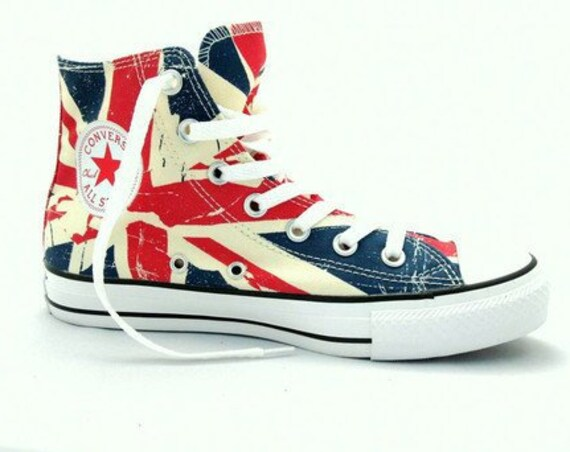 Converse Union Jack High Top Ladies Men Chili Pepper UK Flag British English w/ Swarovski Crystal Chuck Taylor All Star Sneaker Trainer Shoe
