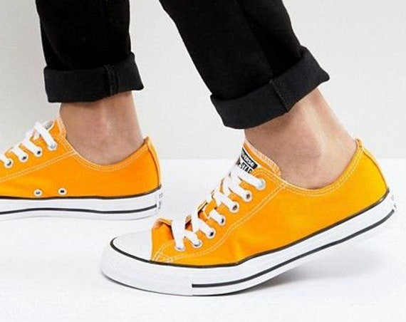 Yellow Converse Low Top Orange Sunflower Custom w/ Swarovski Crystal Rhinestone Jewels Chuck Taylor All Star Summer Wedding Sneakers Shoes