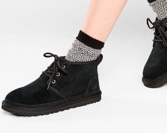 Custom UGG Neumel Short Boot Black Slip on Slippers Lady SheepsWool Fur Suede Laced Fall Winter w/ Swarovski Crystal Rhinestone Jewels Shoes