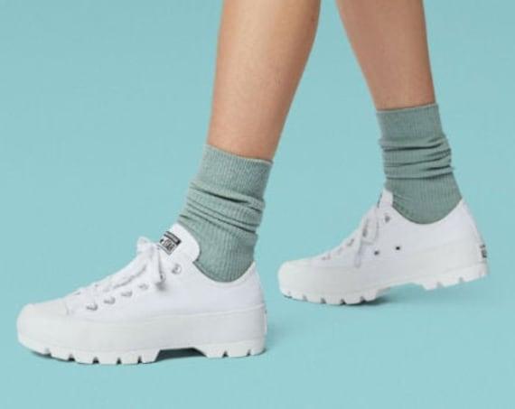White Platform Converse Lugged Low Top Boot Canvas Wedge Club Kicks w/ Swarovski Crystal Bling Rhinestone Chuck Taylor All Star Sneaker Shoe