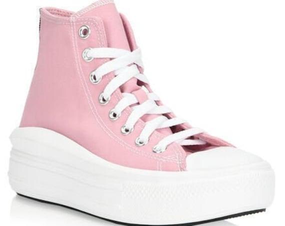 Converse Move White Pink High Top Boot Platform Wedge Lift Club Kicks w/ Swarovski Crystal Rhinestone Chuck Taylor All Star Sneakers Shoes