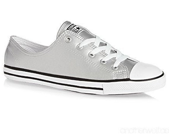 Silver Dove Gray Converse Dainty Metallic Leather Bridal Slip on shoe Wedding Reception w/ Swarovski Crystal Chuck Taylor All Star Sneakers