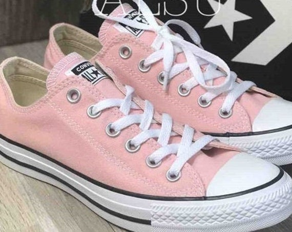 Pink Converse Low Top Daybreak Blush Storm Rose Bride Custom Canvas w/ Swarovski Crystal Chucks Taylor All Star Bling Wedding Sneakers Shoes