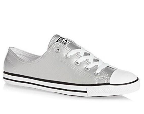Silver Dove Converse Dainty Metallic Leather Gray Bridal Slip on shoe Wedding Reception w/ Swarovski Crystal Chuck Taylor All Star Sneakers