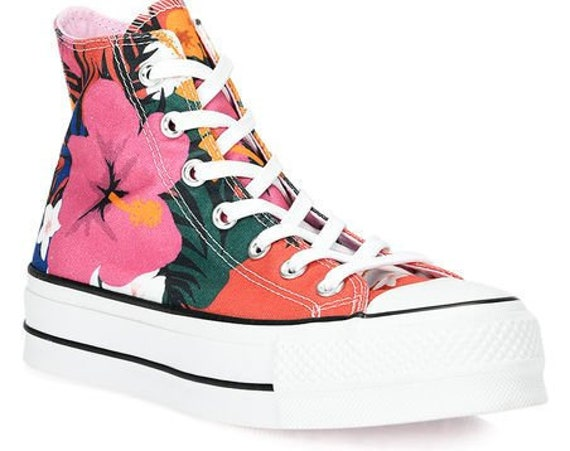 Floral Converse Paradise Flower Platform High Top Rainbow Canvas w/ Swarovski Crystal Rhinestone Chuck Taylor All Star Bling Sneakers Shoes