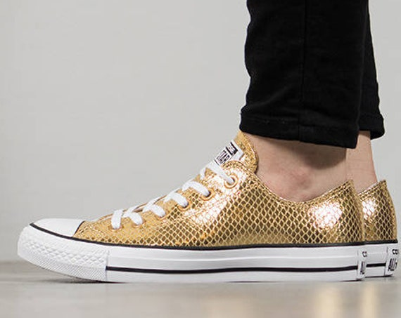 Gold Sparkle Converse Low Top Leather Snake Print w/ Swarovski Crystal Rhinestone Bling Chuck Taylor All Star Bride Wedding Sneakers Shoes