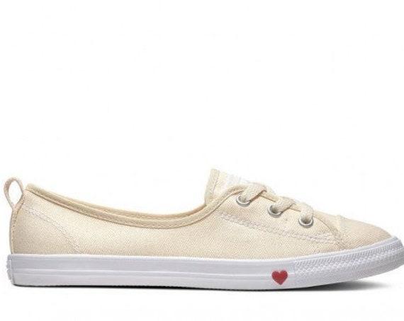 White Converse Love Heart Ivory Cream Slip on Ballet Lace Wedding Bridal w/ Swarovski Crystal Chuck Taylor Rhinestone All Star Sneakers Shoe