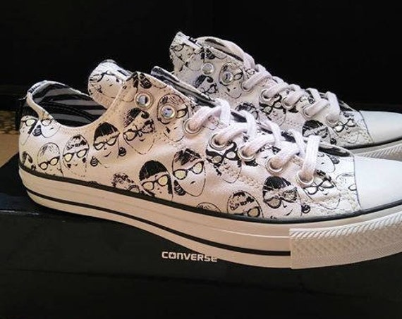 Silver Converse Andy Warhol US W 8 White Silver Specs Gray Collector Glasses Custom w/ Swarovski Crystal Chuck Taylor All Star Sneakers Shoe